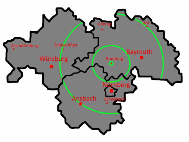 Karte Oberfranken Unterfranken Mittelfranken.Region Ingenieurburomader Thermografie Blowerdoor Fur
